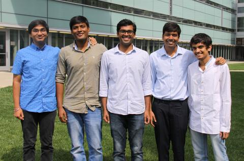 The 2017 RIYA scholars, from left to right: Yashraj Gurumukhi, Vishnu Vishal, Shashwat Ranjan Chaurasia, Priy Ranjan and Raunaq Bhirangi.