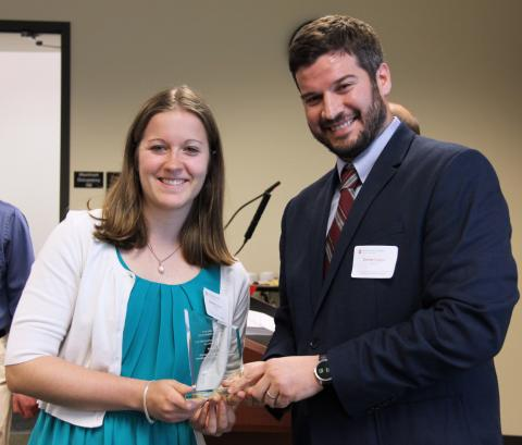 After receiving the 2017 Mechanical Engineering Top Academic Award, Hannah Barnes posed for a photo with Assistant Professor Carlos Castro.