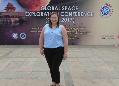 At the Global Space Exploration Conference, Kayleigh Gordon, an aerospace engineering graduate student, was involved in international discussions about the next generation of space innovations.