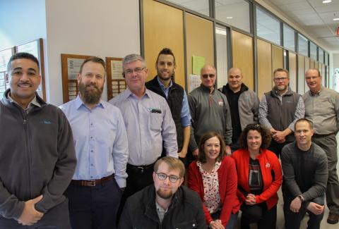 TechSite Team. (Back Row Left to Right) George Richardson, Adam Himes, Bill Schrader, Ben Vaughan, Jim Schrader, Mike VanScoy, Jason Cowgill, Tom Sale. (Front Row Left to Right)  Jesse Blackman, Kathy Schrader, Angie Howard, Shane Erford